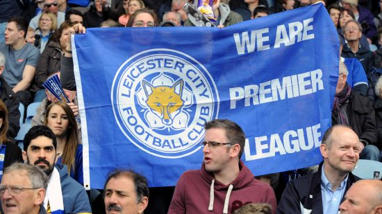 Leicester fans before the English Premier League soccer match between Leicester City and Southampton at the King Power Stadium in Leicester, England, Sunday, April 3, 2016. (AP Photo/Rui Vieira)