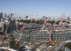 This photo shows the new National Stadium under construction at Shinjuku Ward, Tokyo on Jan. 4, 2018. 2020 Tokyo Olympics and Paralympics will be held the first Olympic Games in 56 years since 1964. ( The Yomiuri Shimbun via AP Images )
